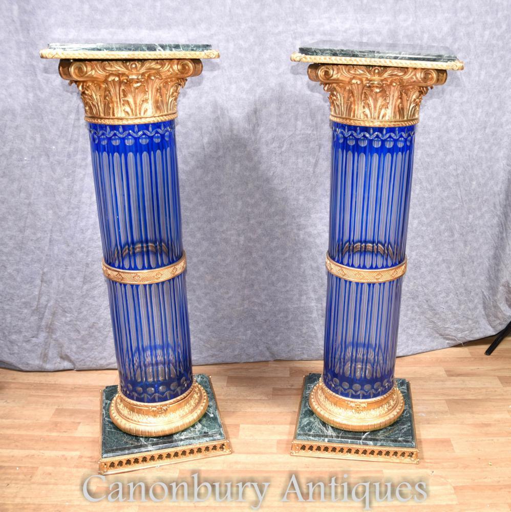 Paar Empire Cut Glas Korinthische Säule Sockel Ständer Tische