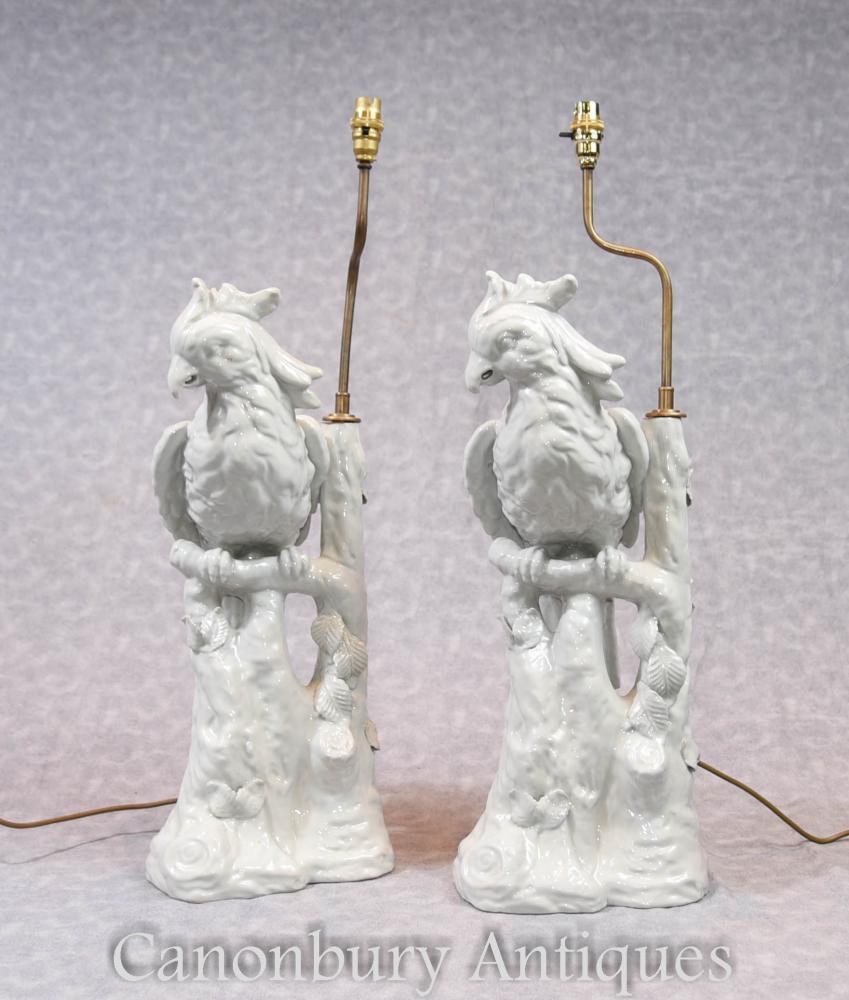 Paar Englische Porzellan Papagei Lampenböden Tischlampen Papagei
