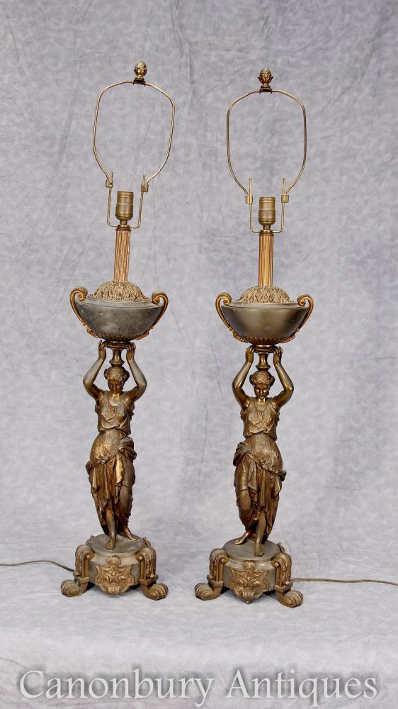 Paar Französische Antike Bronze Weibliche Figur Tischlampen Lichter