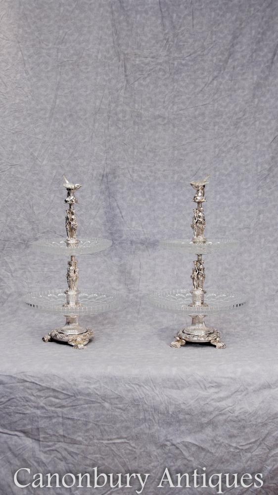Paar Französische Silber Platte 2 Tier Kuchen Ständer Kristall Glas Dish Stand
