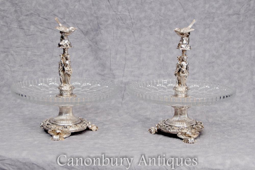 Paar Französische Silber Platte Maiden Kuchen Stands Cut Glas Gerichte