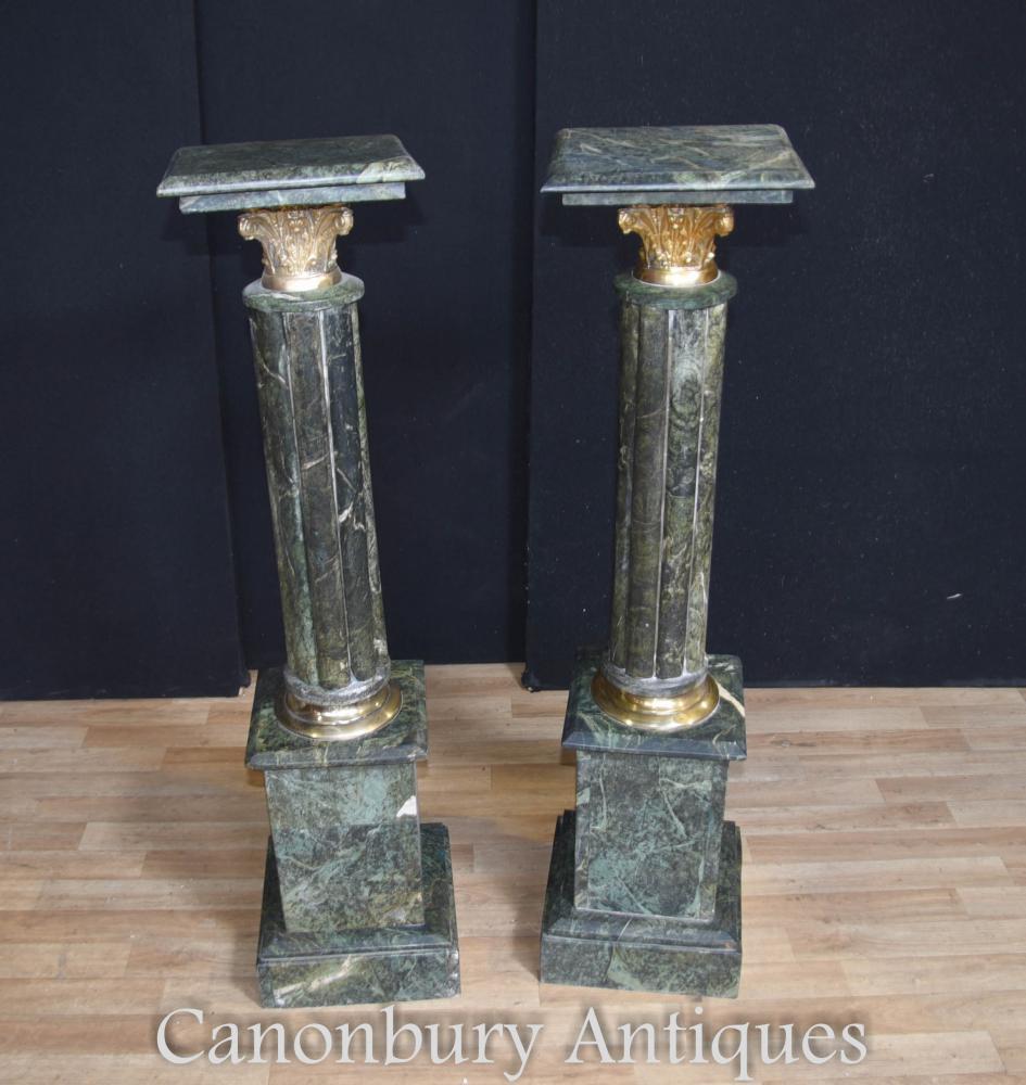 Paar Grüner Marmor Reich Sockel Ständer Französisch Säulentische