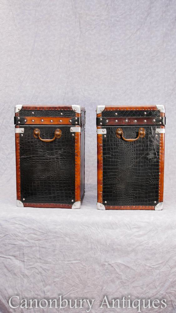 Paar Leder Krokodil Leder Dampfer Gepäck Gepäck Fällen Box Beistelltisch