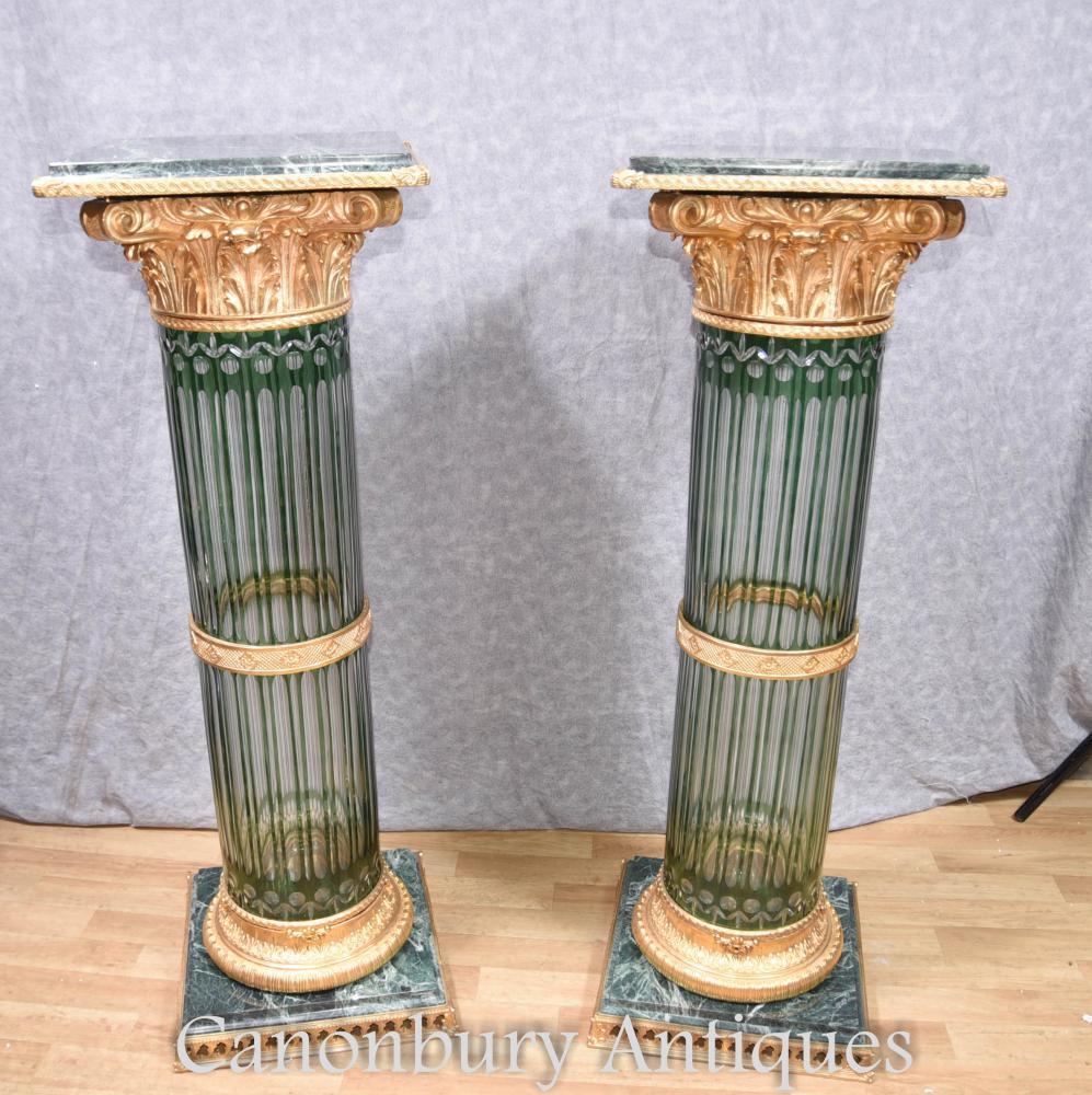Paar Louis XV Kristallglas Korinthische Säule Sockeltische
