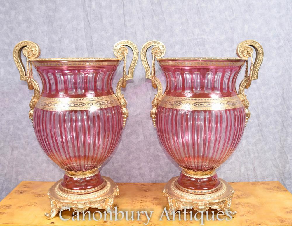 Paar Louis XVI Schnitt Glas Zwiebel Urnen Vasen Ormolu Fixtures