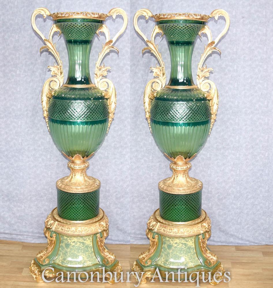 Paar XL Cut Glas Empire Vasen Amphora Urnen Französisch Interieur