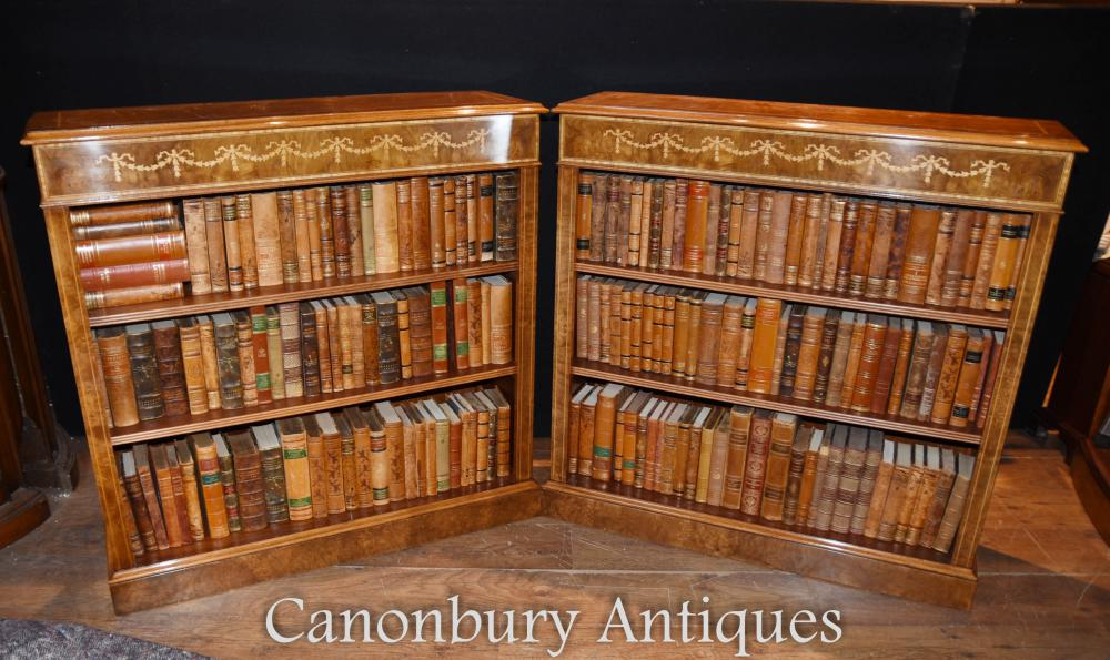 Pair Regency Low Open Bücherregale in Walnuss Intarsien Inlay