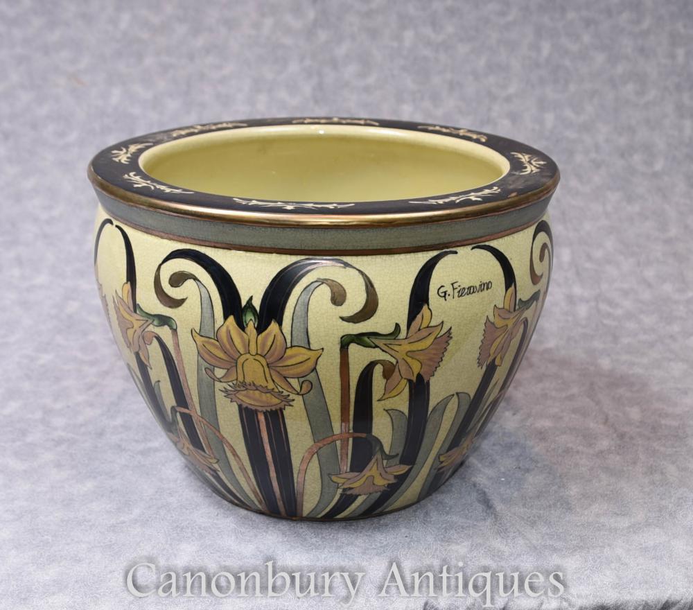 Single Art Nouveau italienischen Porzellan Pflanzgefäß gefertigt Fieravino