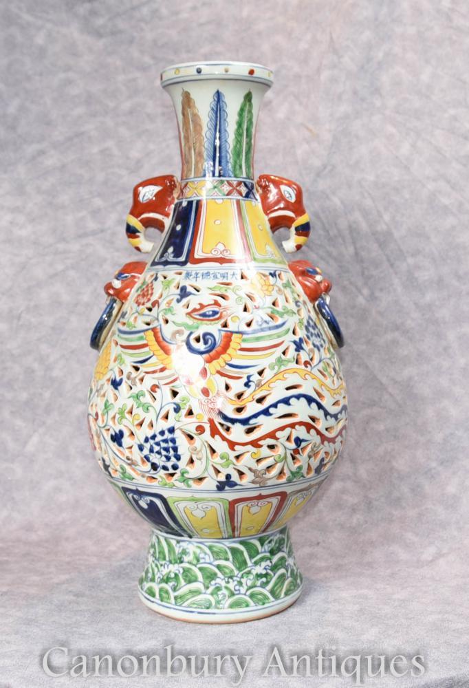 Single Chinesisch Qianlong Porzellan Drachen Urn Vase China Keramik