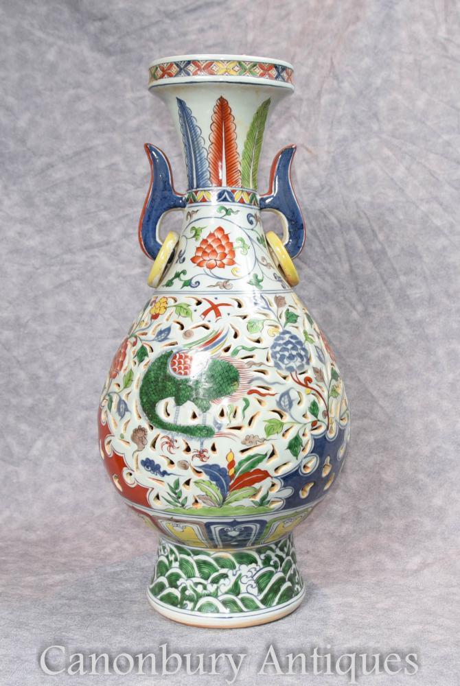 Single Chinesische Porzellan Drachen Vase Urne Qianlong Keramik