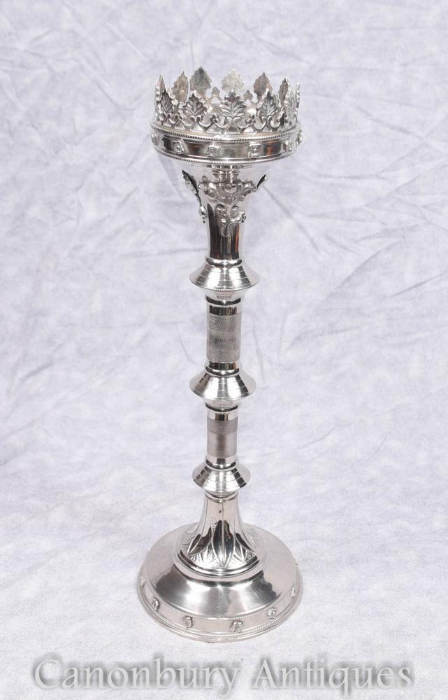 Single englisch Gothic Silver Plate Candlestick Kandelaber