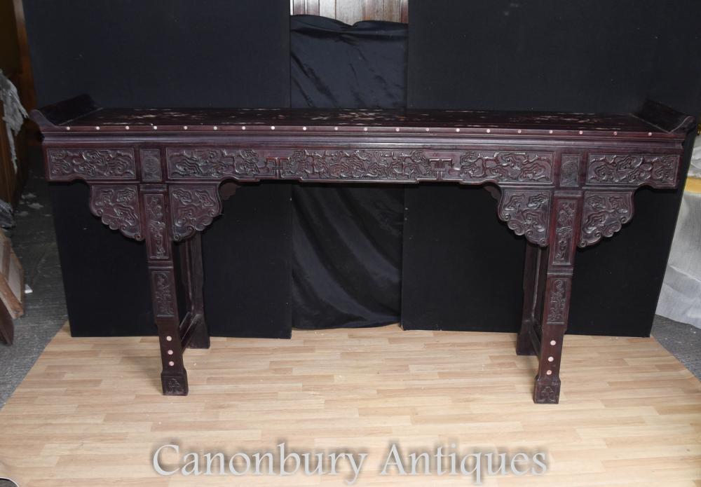 XL Chinesische Hartholz Altar Tempel Tisch Perlmutt Inlay Konsole Tische