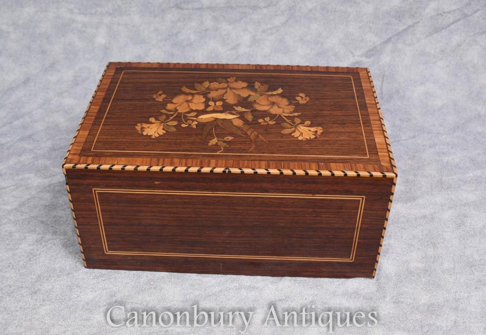 Antike Zigarrenbox 1930s Intarsien Inlay Trinket Schmuckkoffer