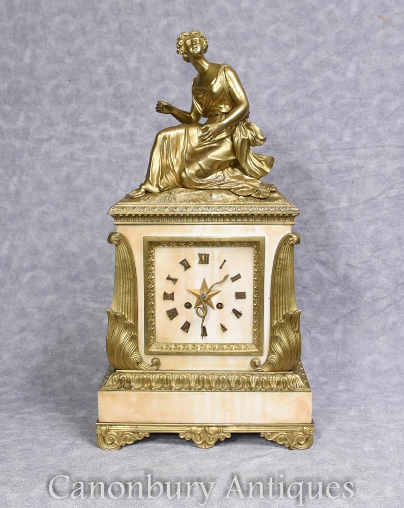 Antike französische Art Deco Uhr Marmor Ormolu Figur 1930