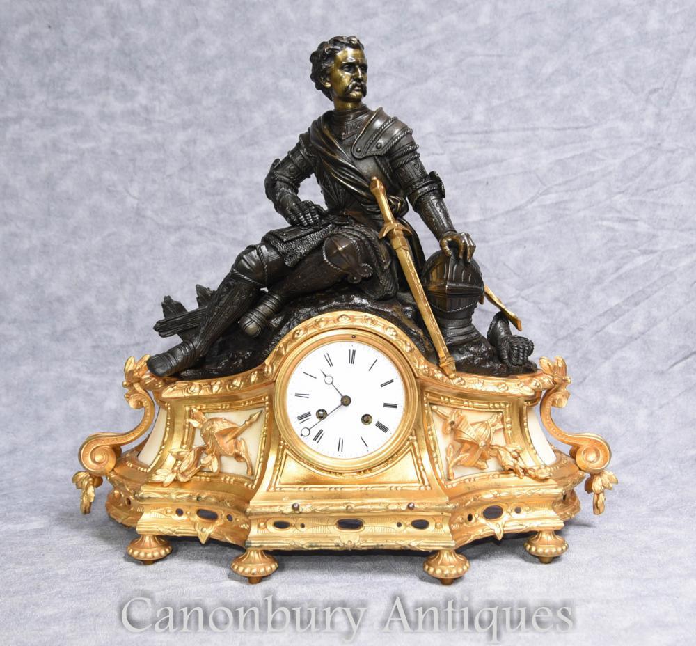 Antikes französisches Reich Ormolu Mantel Uhr 1880 Bronze Statue