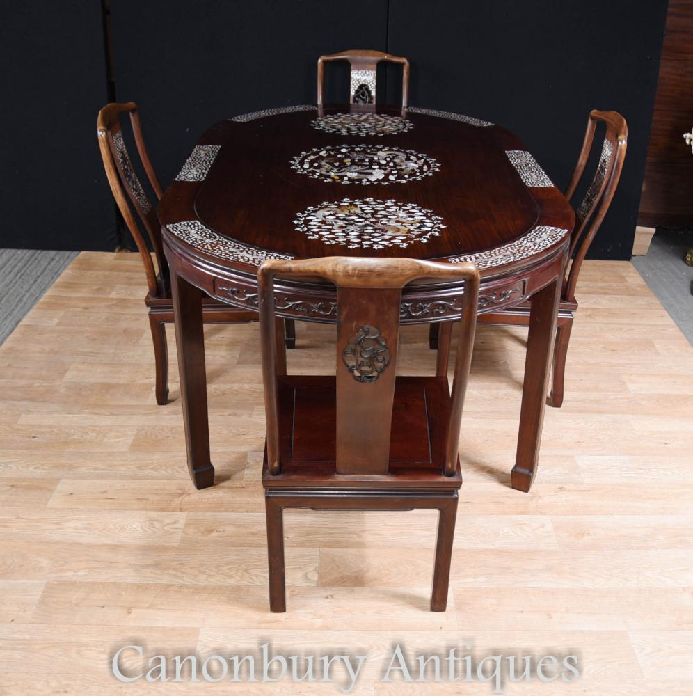 Antique Chinese Dining Set Tisch und Stühle Perlmutt Inlay