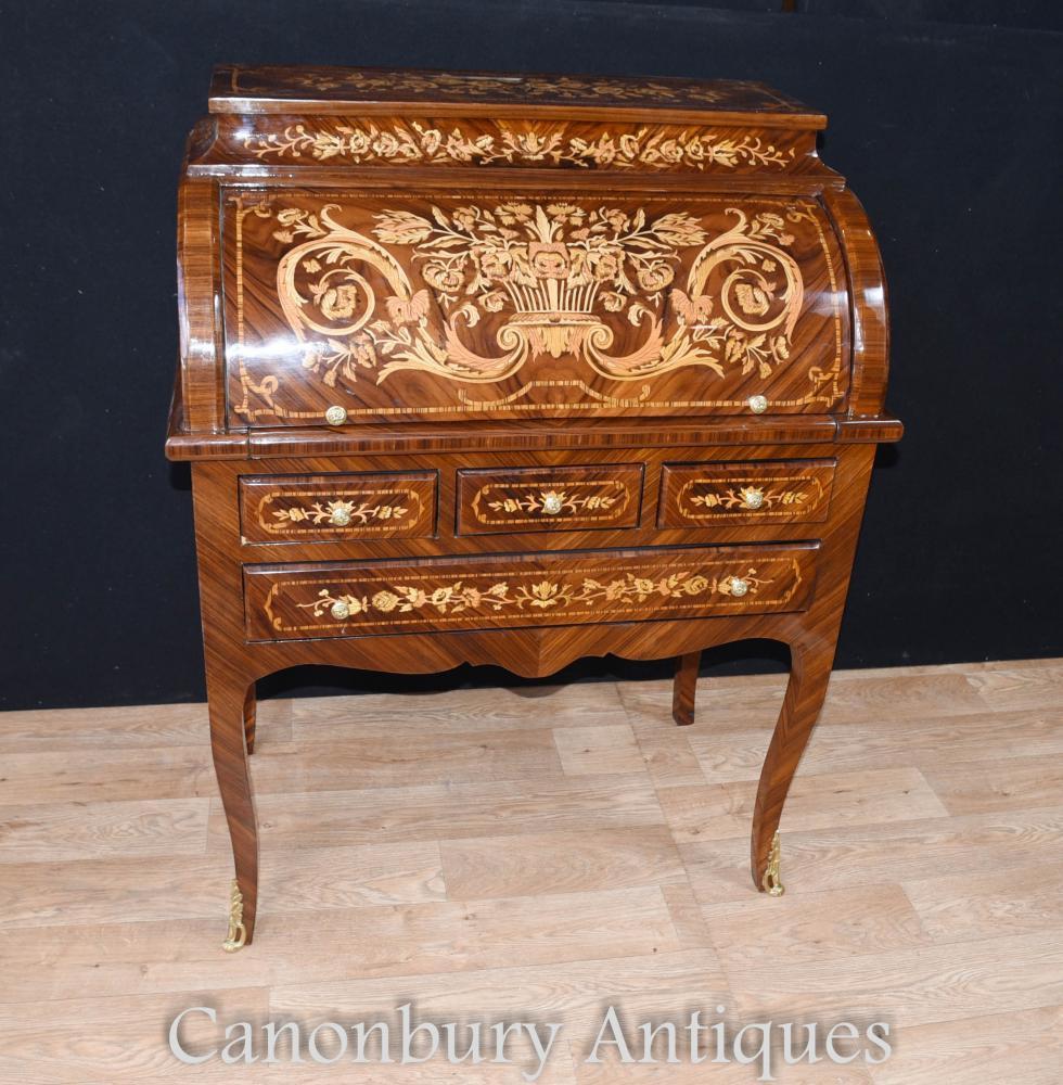 Französisch Louis XV Roll Top Desk Bureau Schreiben Tisch Inlay Möbel
