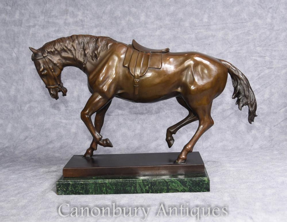 Französische Bronze Statue Signiert Barye Pferde Pony Casting