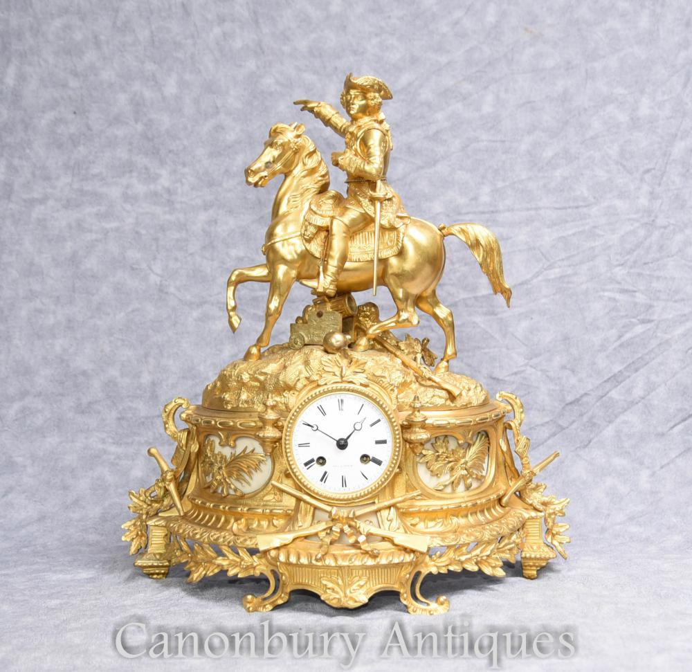 Französisches Reich Ormolu Mantel Antike Uhr Napoleon auf Pferd 1890