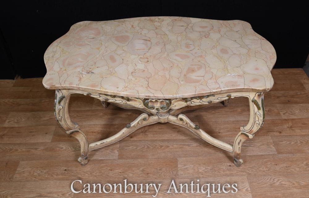 Gemalte Louis XV Couchtisch Marmor Top