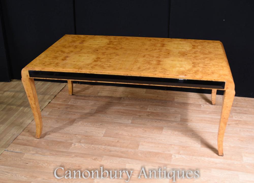 Großer Art-Deco-Walnuss-Schreibtisch Schreibtisch-Tischbüro Plat