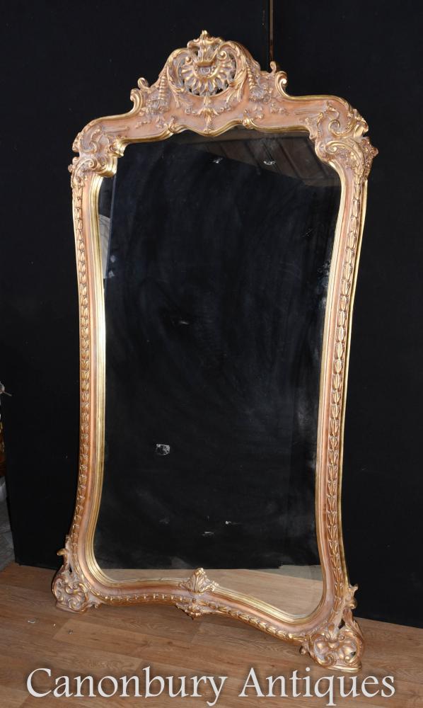Großer französischer Louis XVI Gilt Pier Spiegelglas Spiegel
