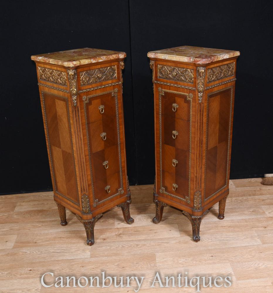 Paar Antique Französisch Napoleon II Tall Boys Commodes 1890