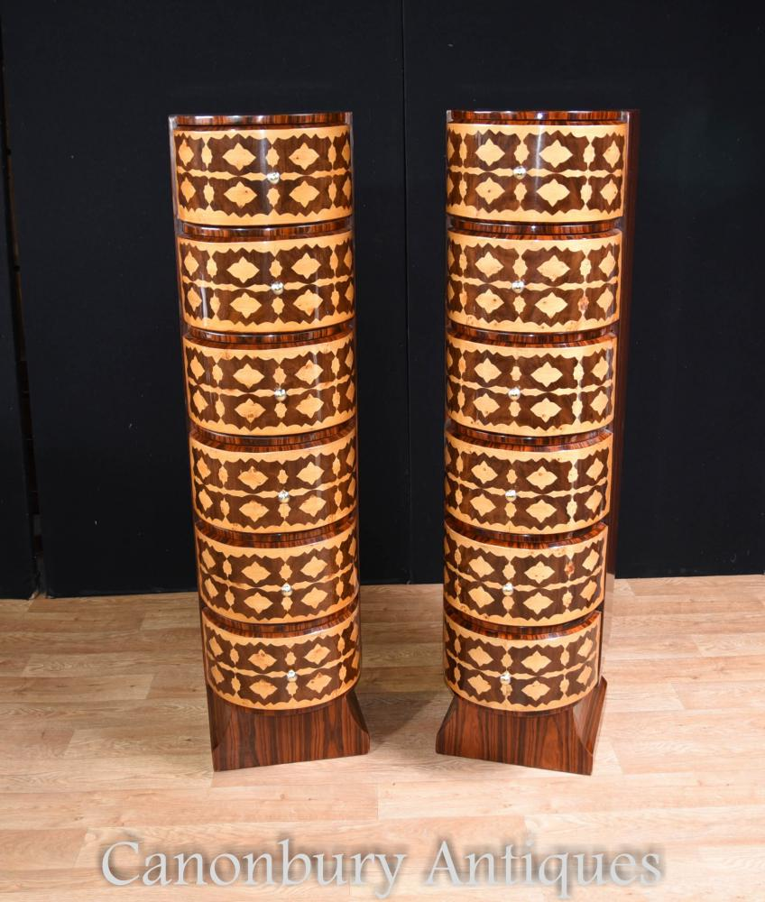 Paar Art Deco Kommoden Tall Boys Intarsien Inlay