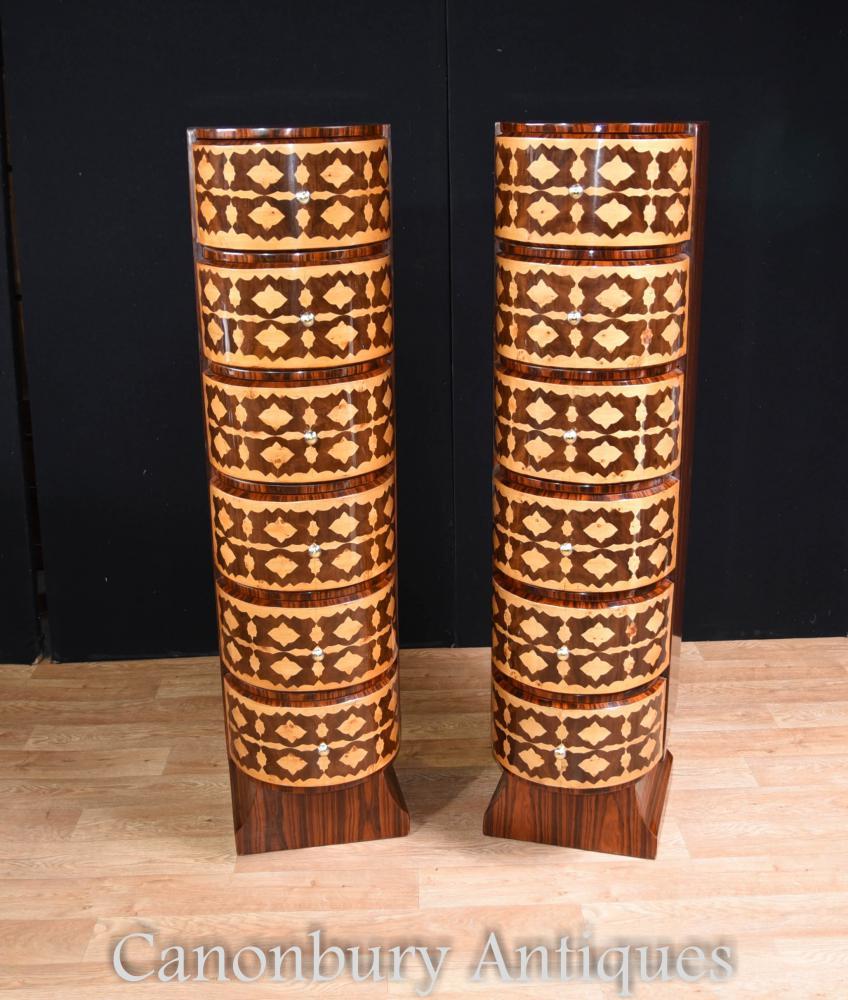 Paar Art Deco Kommoden Tall Boys Intarsien Inlay