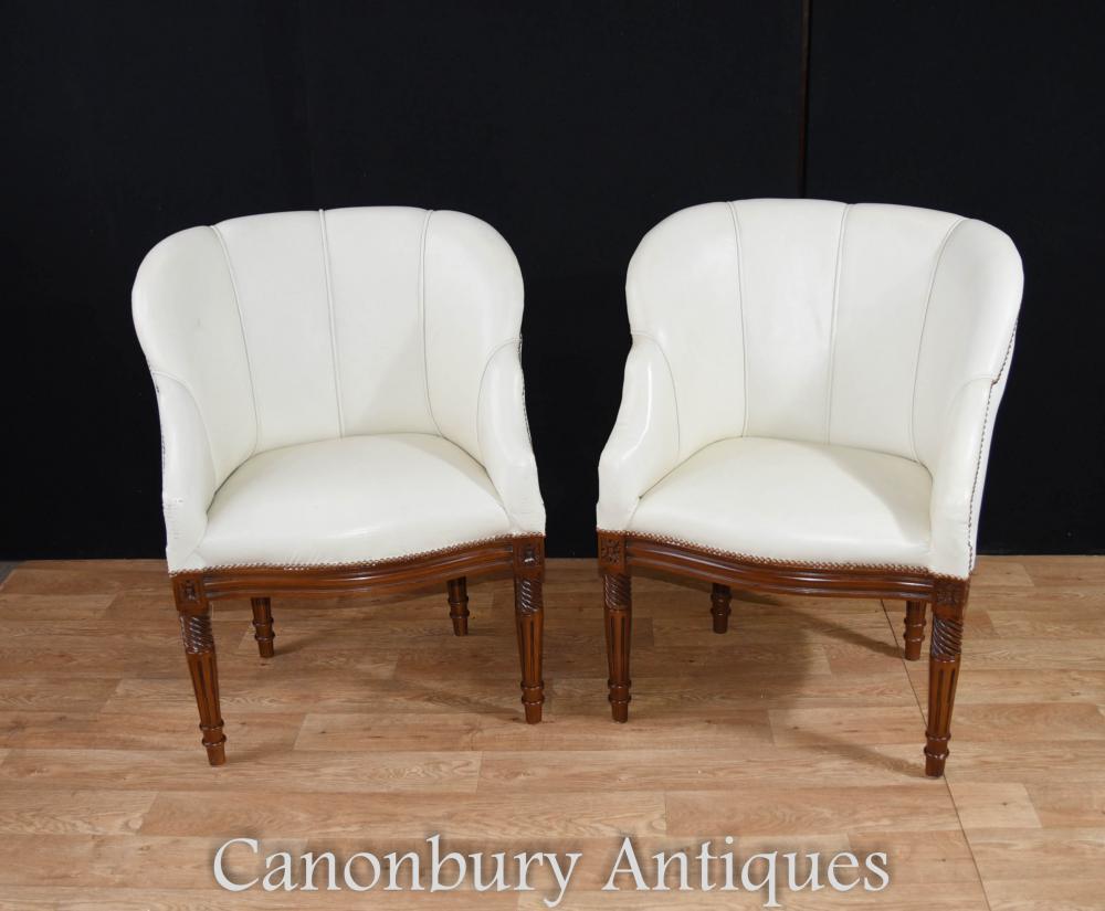 Paar Art Deco Shell Club Arm Stühle Stuhl Sitze