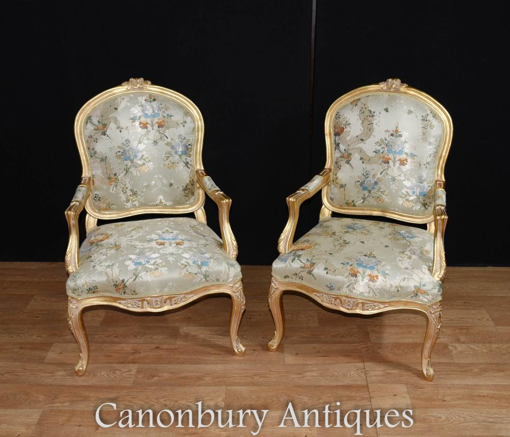 Paar Französisch Louis XVI Gilt Arm Stühle Fauteuils