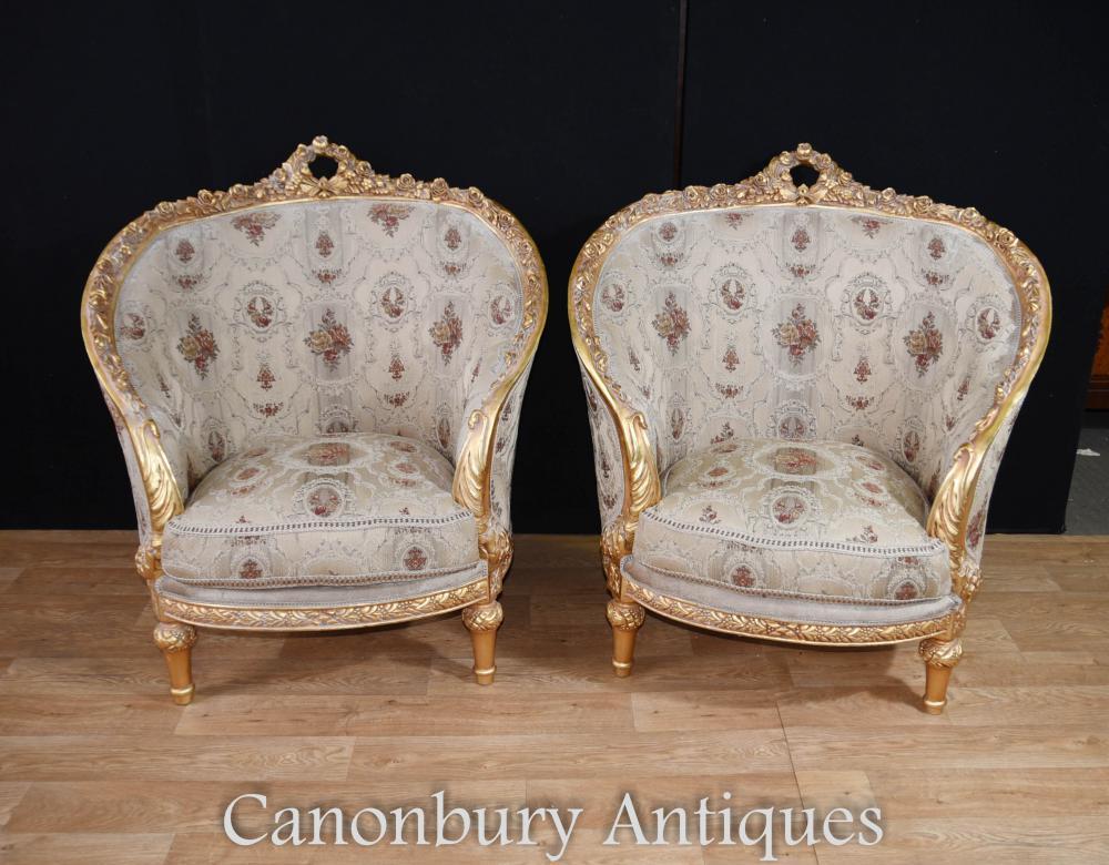 Paar Französisch Louis XVI Wanne Stühle Gilt Arm Stuhl