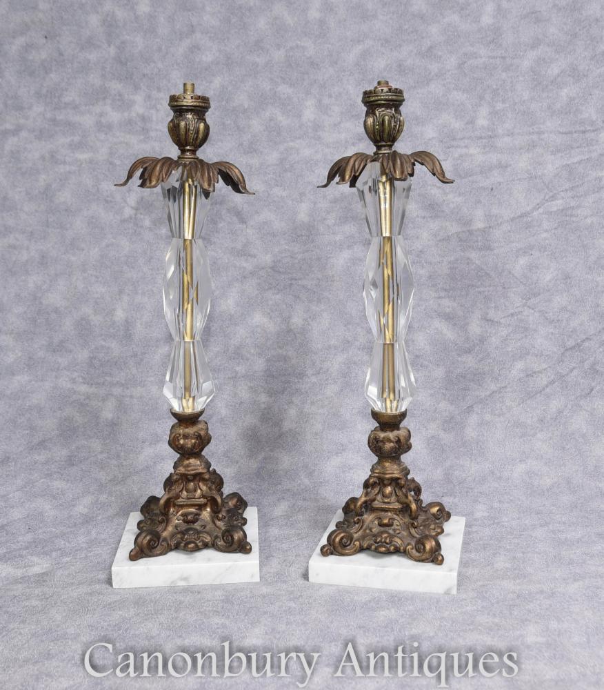 Paar Französische Kunst Nouveau Ormolu und Kristall Glas Tisch Lampen Lichter