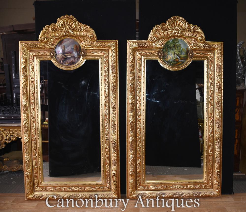 Paar Louis XV Gilt Pier Mirrors Gemalte Plaketten