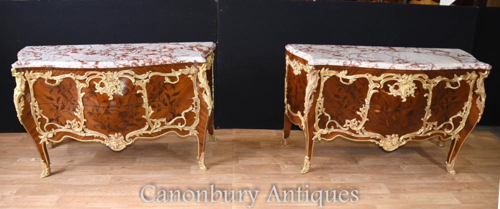 Paar Louis XVI Bombe Commodes Linke Intarsien Inlay Chest Schubladen