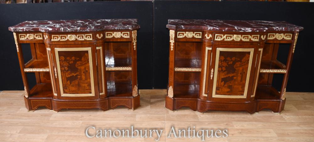 Pair French Empire Schränke Sideboards Intarsien Inlay