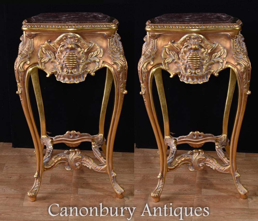Pair Tall Louis XVI Gilt Sockel Stand Rococo Tische Beistelltisch