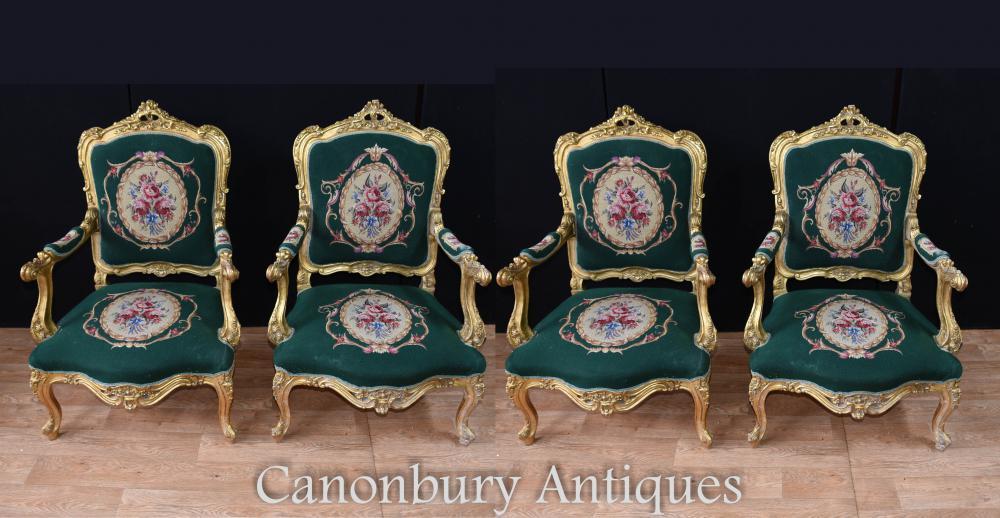 Set 4 Französisch Louis XVI Gilt Arm Stühle Sitzplätze