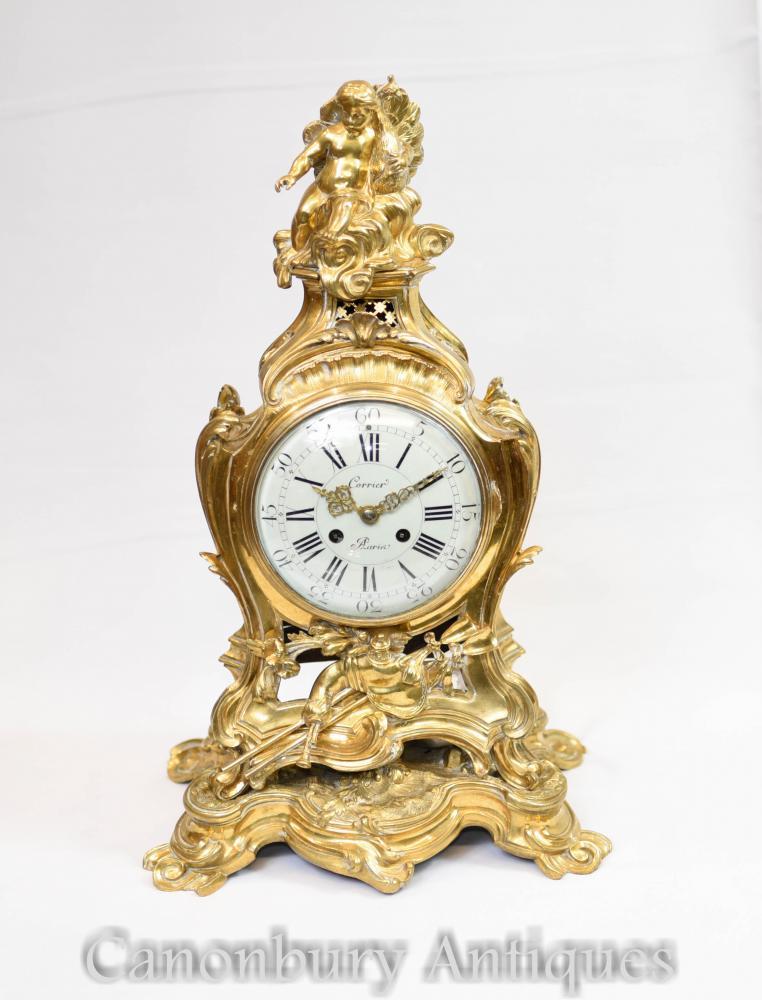 Antike französische vergoldete Mantel-Uhr-Engel-Rokoko 1880