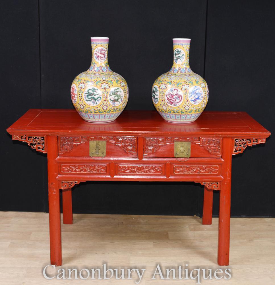 Antiker chinesischer roter Lack-Cinnabar-Tempel-Tabellen-Altar