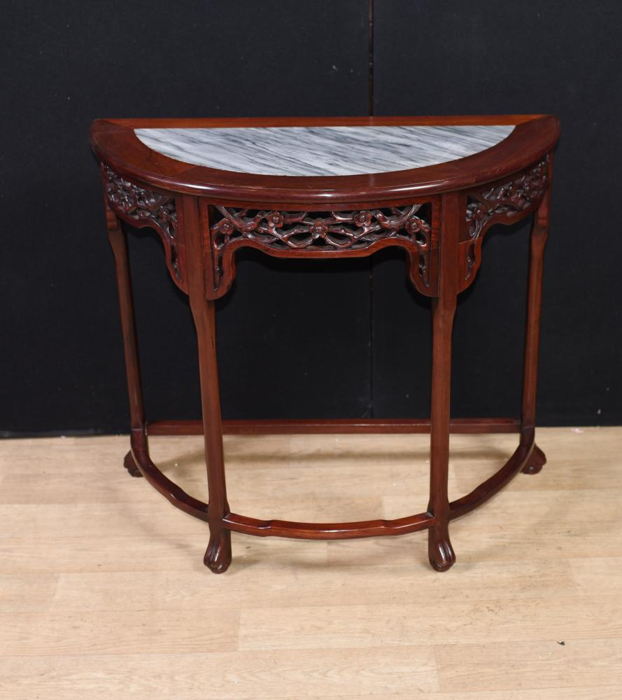 Antikes chinesisches Hartholz geschnitzt Half Moon Console Table