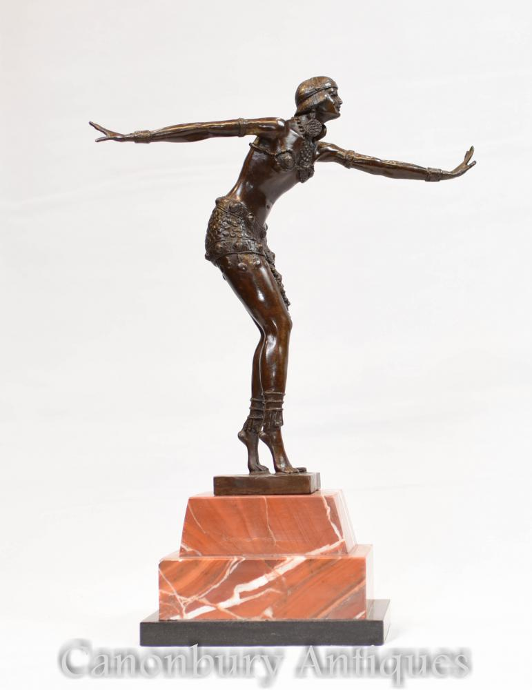 Art Deco Bronze Charleston Tänzer Figur von Chiparus