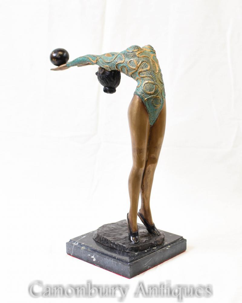 Art Deco Bronze Grün Deco Tänzer Statue Figur