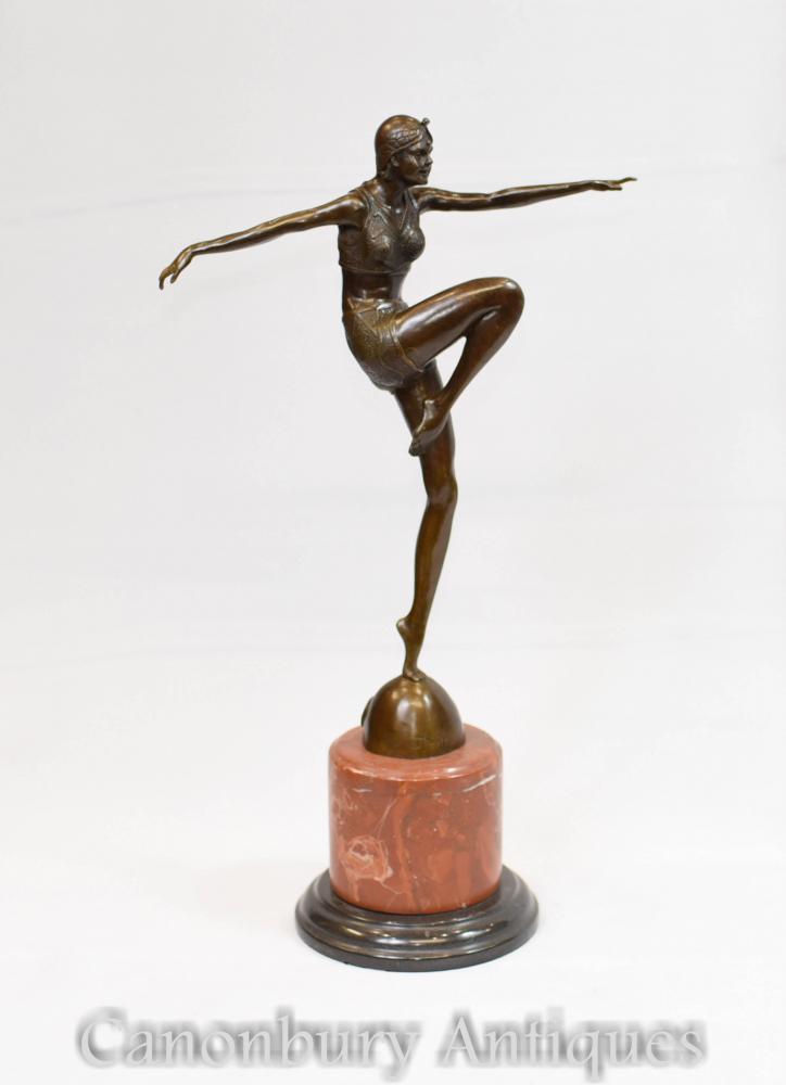 Art Deco Bronze Tänzerin Statue signiert J Philippe
