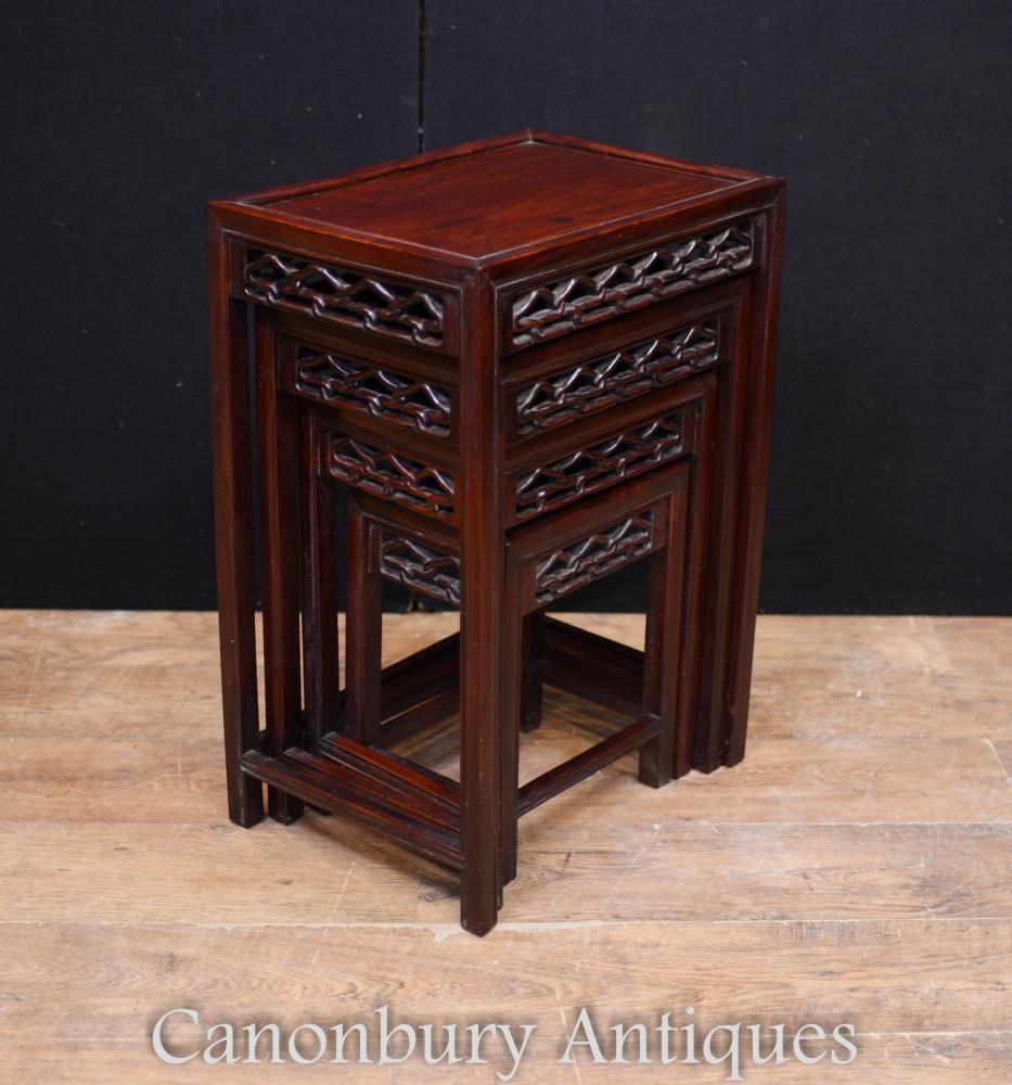 Chinese Hard Wood Nest Tisch geschnitzt Beistelltisch