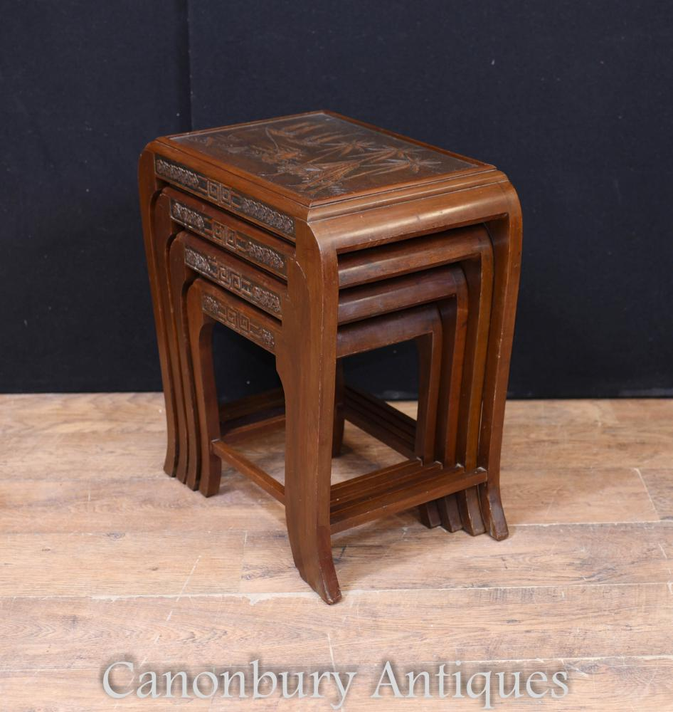 Chinesisches antikes Nest der Tabellen-Beistelltisch-Hartholz Circa 1900