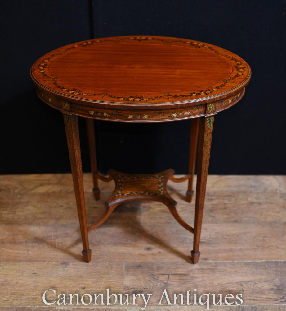Edwardian Painted Oval Beistelltisch Cocktail-Tische