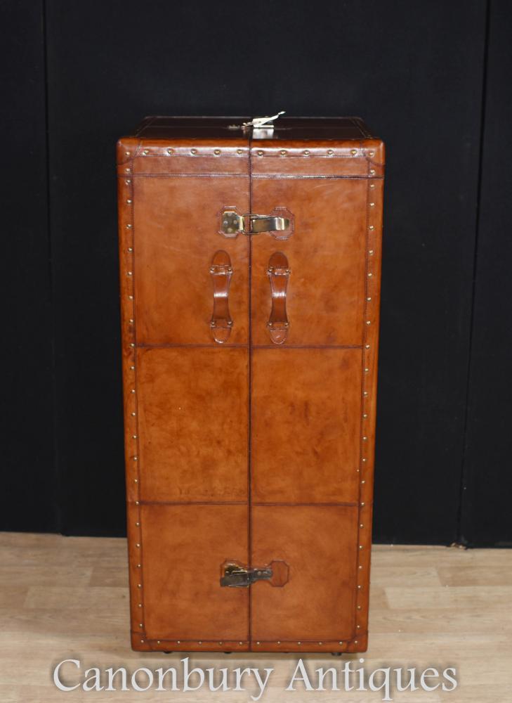 Englische Leder Kampagne Kommode Dressing Cabinet