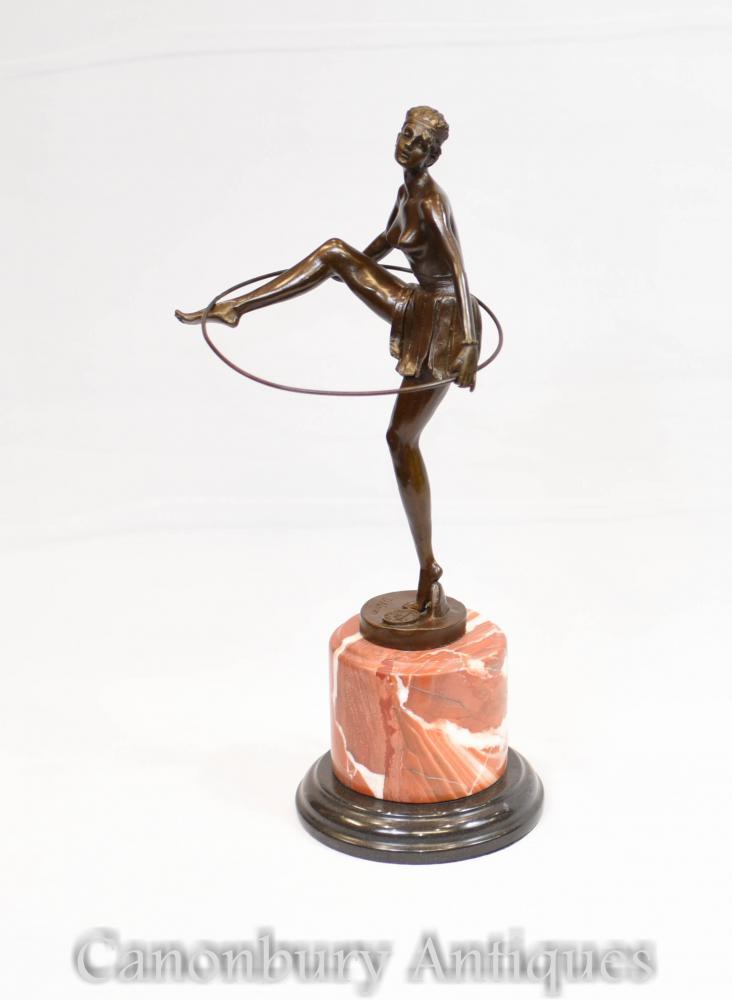 Französisch Art Deco Hoop Tänzerin Statue signiert Alonzo Figurine