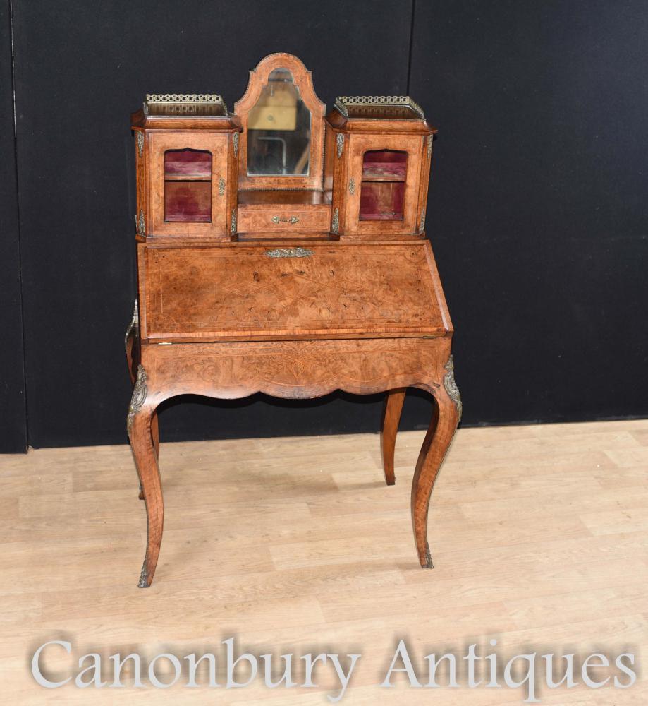 Französischer Walnut Bonheur De Jour Damen Schreibtisch um 1880